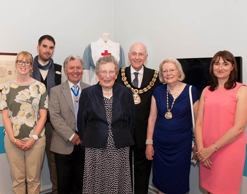Photographed with Baroness Emerton DL are The Mayor of Tunbridge Wells, Cllr Julian Stanyer, Mayoress, Mrs Anne Stanyer, Peter Blackell JP DL, Jo Wiltcher, Museum and Art Gallery Manager, Jeremy Kimmel and Abbi Bradford. (c) David Hodgkinson