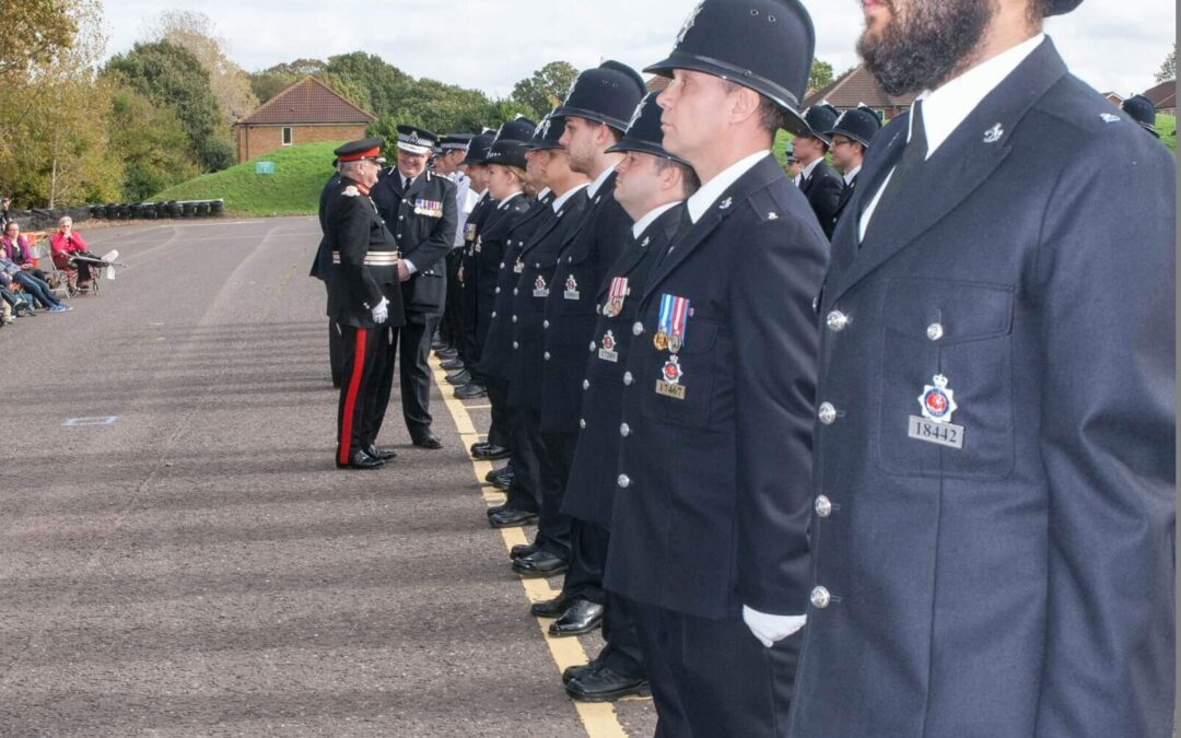 The Lord-Lieutenant inspecting The Parade before presenting the prestigious award. (c) Phil Pemble.