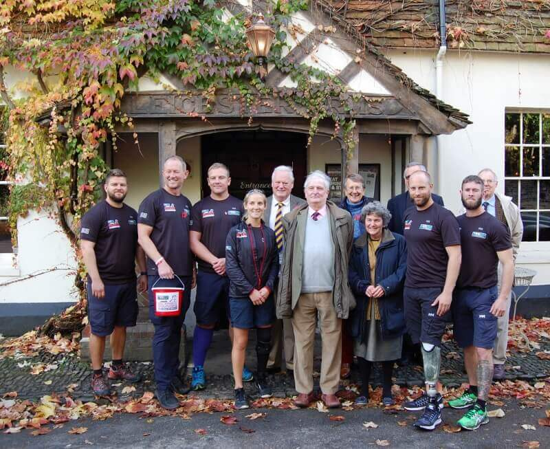 The Lord-Lieutenant and Viscountess De L'Isle in Penshurst village, pictured centre with walkers, joined by Lieutenancy supporters.