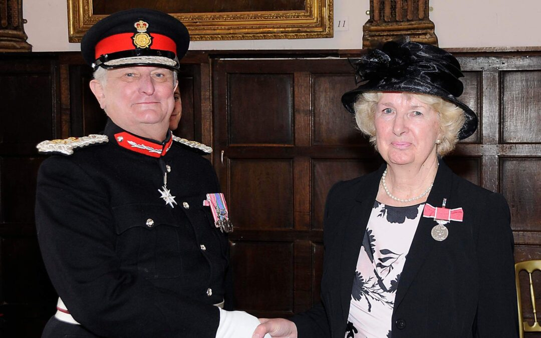Mrs Maureen Lewsey BEM, receiving her medal from the Lord-Lieutenant, for Voluntary Service to St John Ambulance. (c) Barry Duffield.