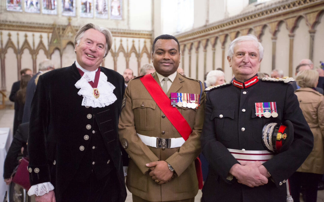 Pictured after the service in the Chapter House from left to right: The High Sheriff of Kent, Mr George Jessel DL; Lance Sergeant Johnson Beharry, VC, CNG; The Lord-Lieutenant of Kent, The Viscount De L'Isle MBE. (c) Abbeyfield Kent Society.