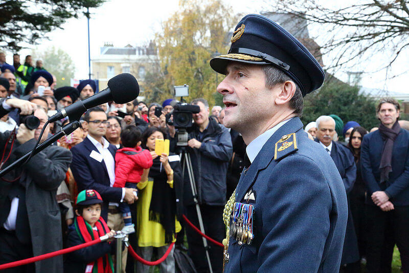 Air Vice-Marshal Edward Stringer CBE MA BEng RAF who unveiled the statue . (c) Sarah Knight.