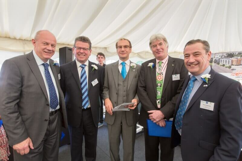 Pictured from left: Damian Green, MP for Ashford, Paul Hannan, Principal and CEO, The Hadlow Group, Mark Lumsdon-Taylor, Director of Finance & Resources, The Hadlow Group, George Jessel DL, and Paul Dubrow, Vice Chair of Governors, The Hadlow Group. (c) Manu Palomeque