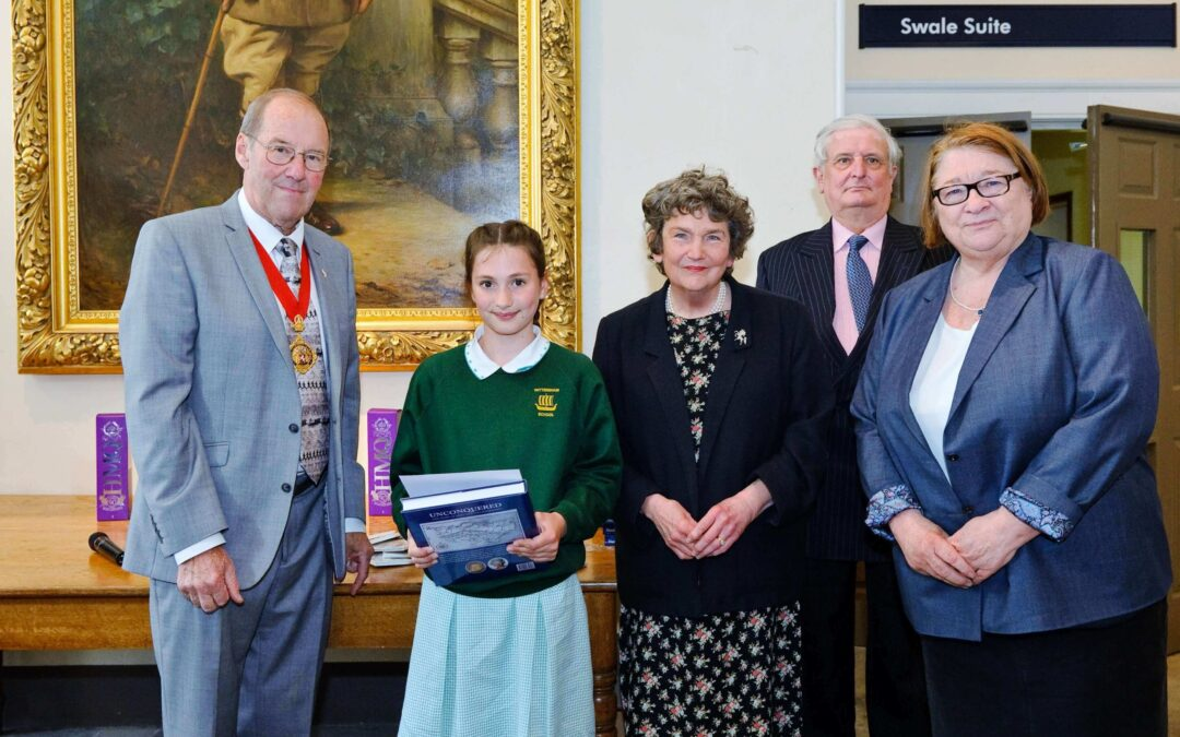 From left to right: Chairman of KCC, Mr Tom Gates; 1st prizewinner Abi, from Wittersham Primary School; Viscountess De L'Isle, The Lord-Lieutenant of Kent, Viscount De L'Isle and Rosemary Shrager. (c) Dave Cosens.