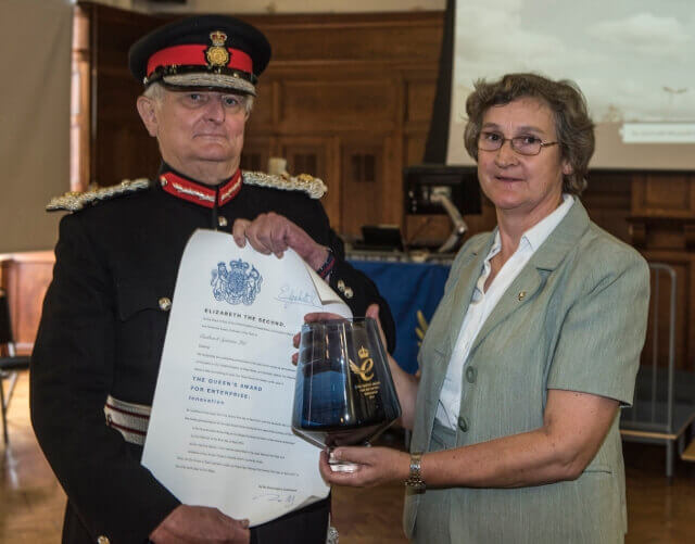 The Lord-Lieutenant presenting  the Queen's Award to Dr Paula Carey, Company Managing Director. (c) Phil Weedon