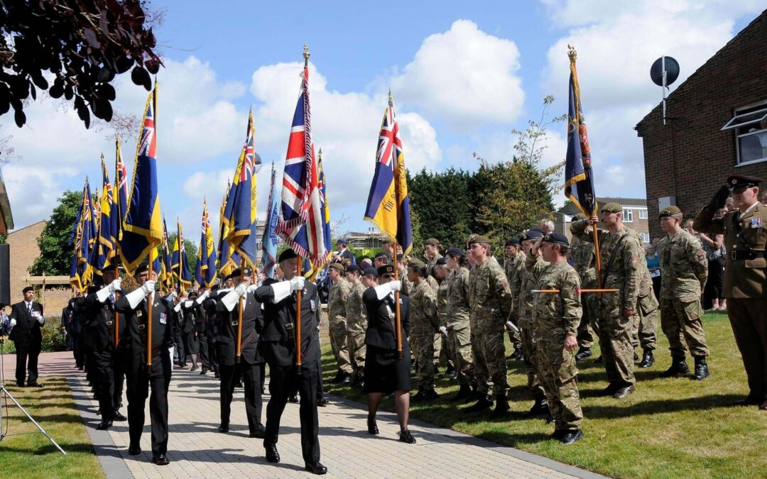 County Standards and members of Kent Army Cadets who took part in the parade. (c) Barry Duffield.
