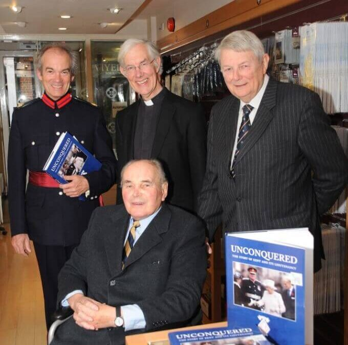 Vice Lord- Lieutenant Richard Oldfield, the Dean of Canterbury and David McDine, with Allan Willett, front, at the Canterbury Cathedral Shop book launch.