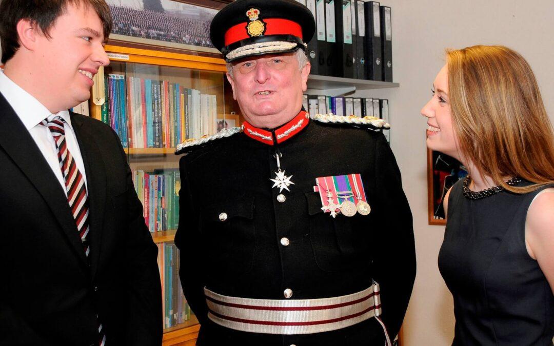 Head boy Tom Grant, the Lord Lieutenant and head girl Emily Fallon. (c) Barry Duffield