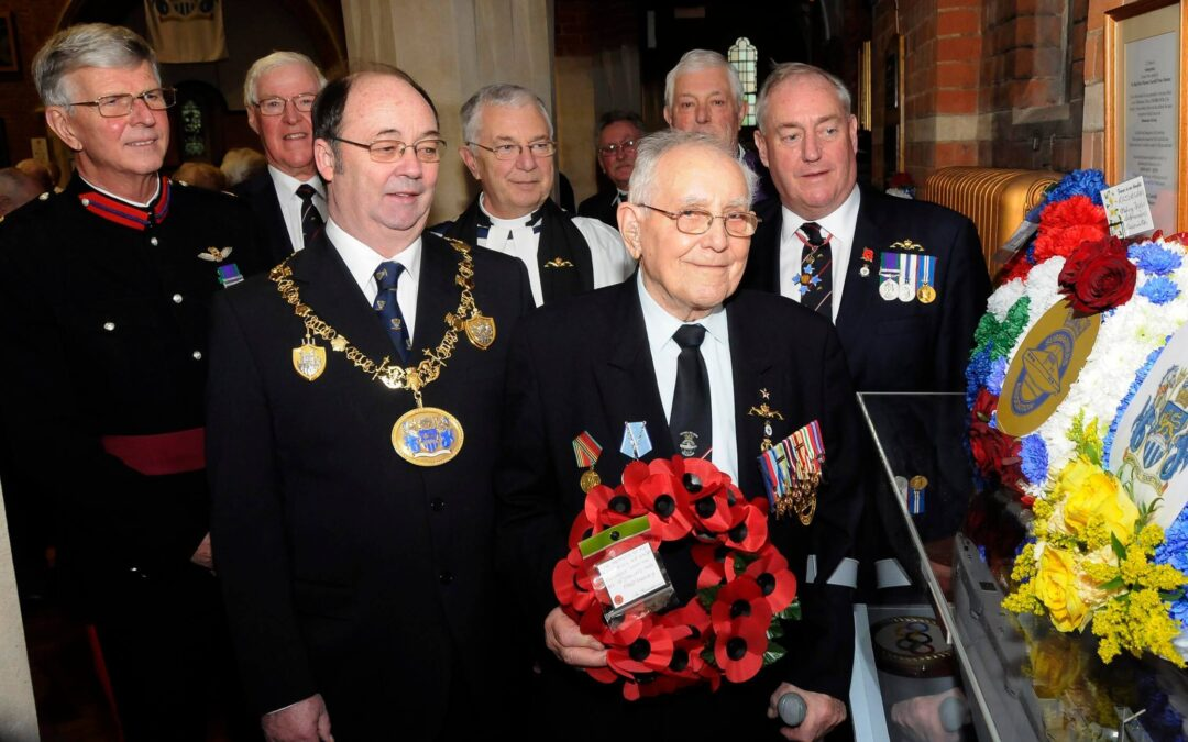 Last surviving crew member of the Truculent disaster Fred Henly, 91, with other dignitaries who were at the 65th Memorial Service,and left is Brigadier (Retd) John Meardon DL. (c) Barry Duffield.