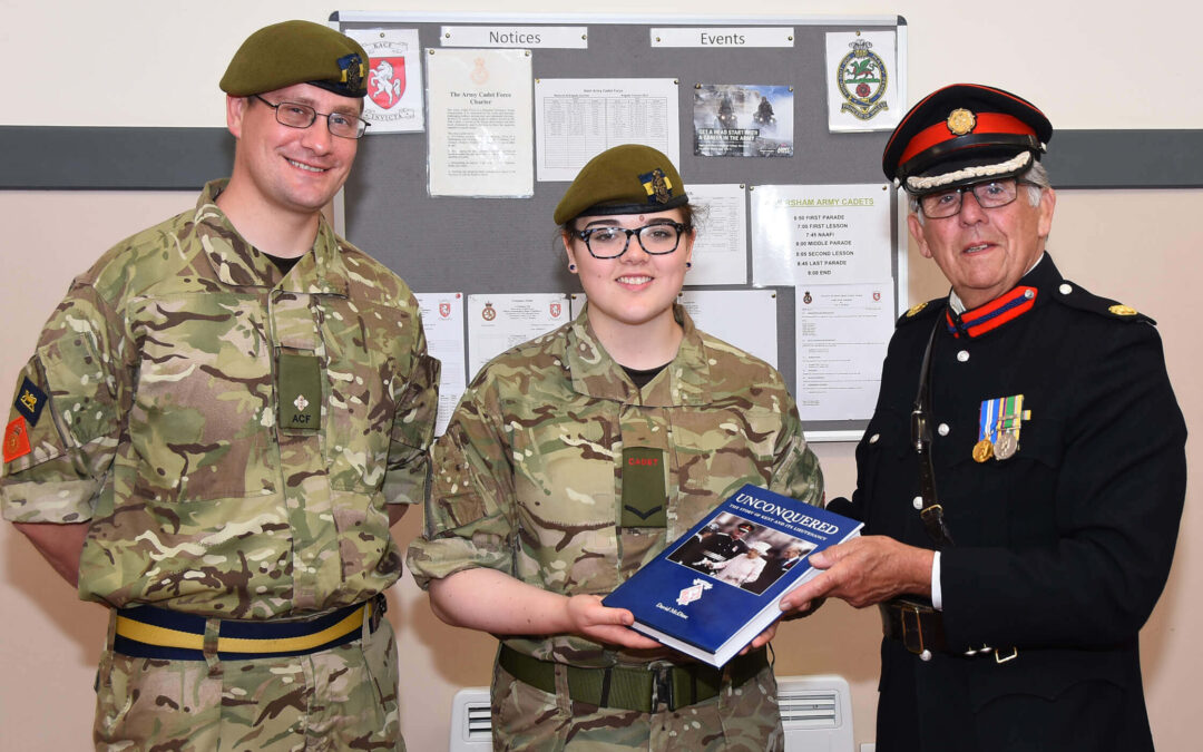 Pictured left to right: Faversham Detachment Commander, L/Cpl Hannah Simmons and Barry Duffield DL.