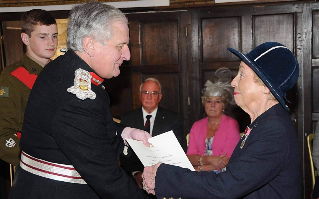 Mrs Heather Clemence receiving her British Empire Medal