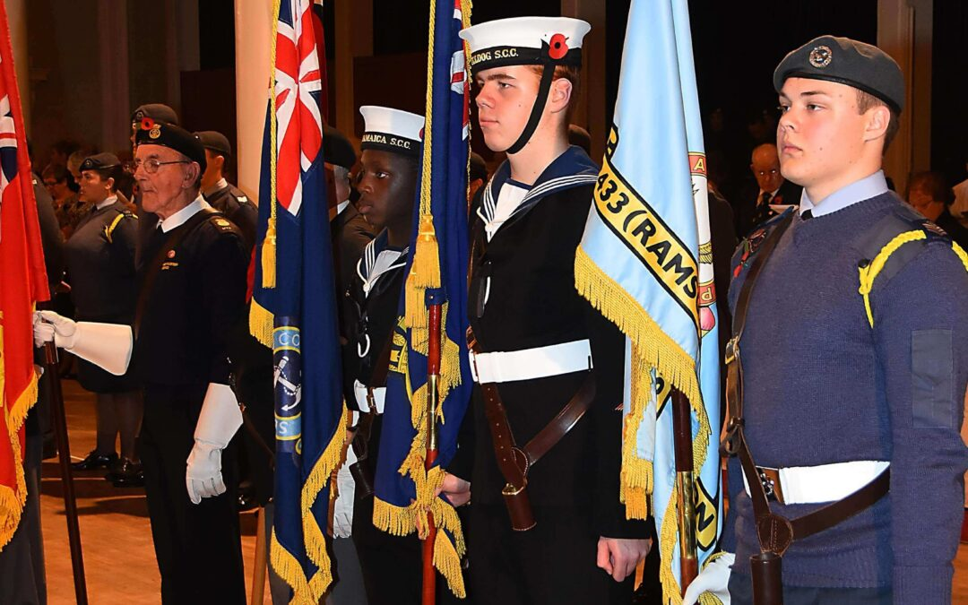 Smart on parade. Standard Bearers from Margate SCC TS Jamaica, Ramsgate and Broadstairs SCC TS Bulldog, and 2433 (Ramsgate & Manston) Squadron Royal Air Force Cadets. © Barry Duffield DL