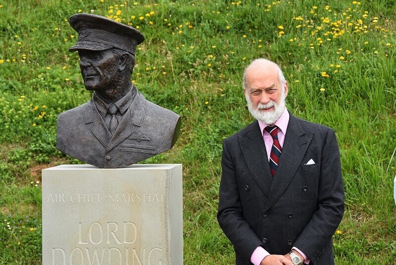 HRH Prince Michael pictured by the new Lord Dowding bust memorial. (c) Barry Duffield DL.