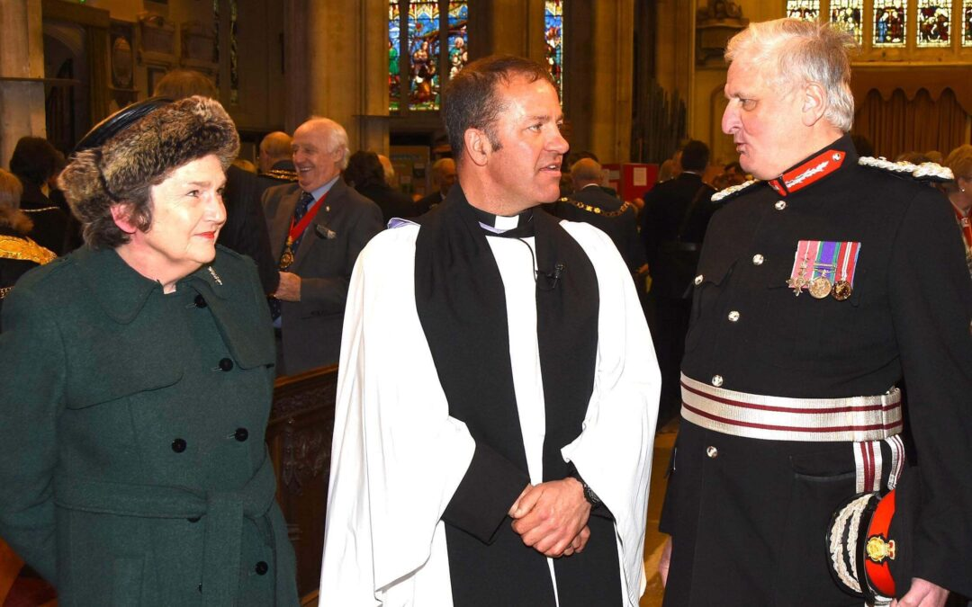 Pictured from left to right: Viscountess De L'Isle, The Reverend Ian Parrish, Vicar of Maidstone and The Lord-Lieutenant of Kent. (c) Barry Duffield