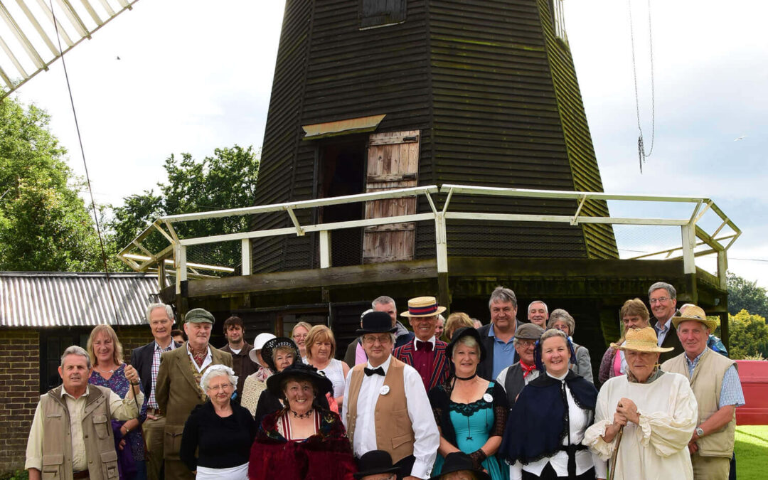 Windmill and Museum Trustees and supporters, many in Victorian costume, beside the 150-year-old mill after the official opening of the museum. (c)Barry Duffield.