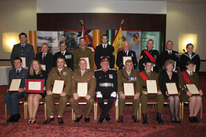 The Lord Lieutenant with award winners.