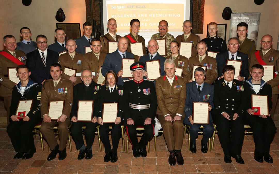 Recipients of Her Majesty's Lord-Lieutenant of Kent Awards 2015 with The Lord-Lieutenant of Kent, Viscount De L'Isle MBE and Brigadier Andrew Hughes MBE , II (Infantry) Brigade Commander. (c) Stewart Turkington