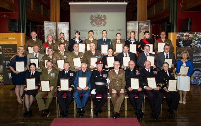 The Lord-Lieutenant of Kent pictured centre, with all Kent 2017 SERFCA awards recipients. (c)Stewart Turkington.