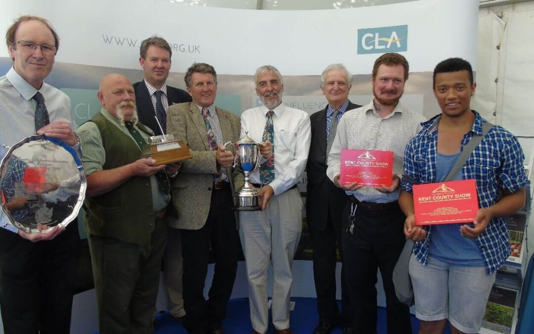 The Lord Lieutenant of Kent, Viscount De L'Isle, presented the trophies to the winners of the forestry and conservation awards at a CLA reception during the Kent County Show. Left to right: Aubrey Furner, Steve Wright, Robin Edwards (CLA), Andrew Lingham, Richard Moyse, The Lord-Lieutenant, Craig Scott, Brendan Maher. (c) CLA.