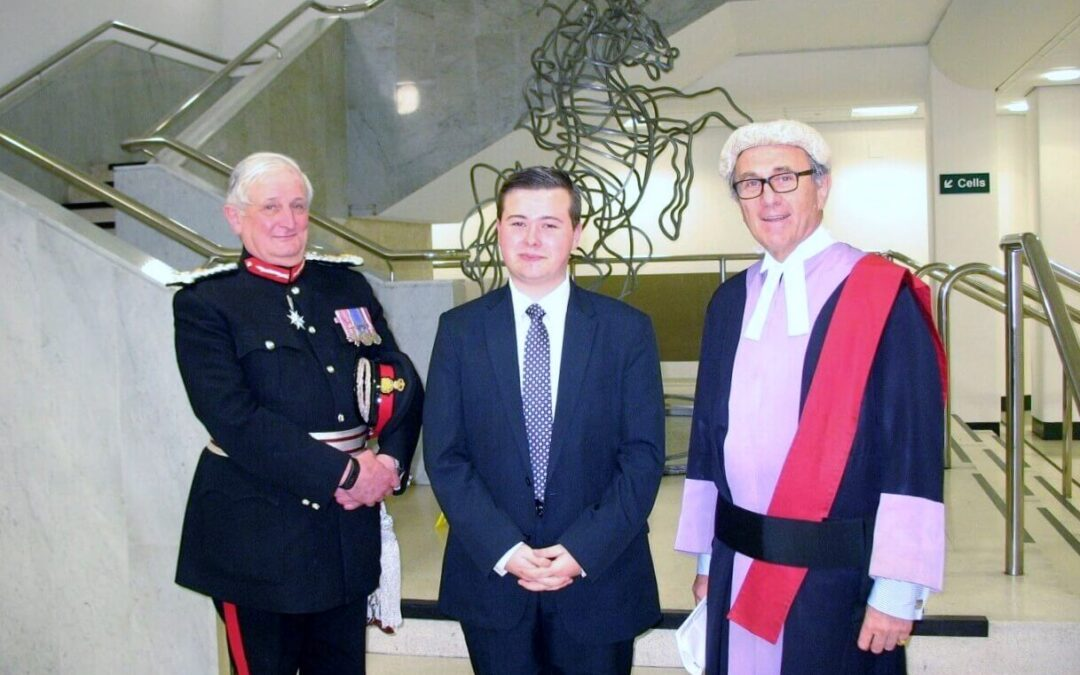 Pictured from left to right: The Viscount De L'Isle MBE, Lord- Lieutenant of Kent, Mr Alex Hyne JP and His Honour Judge Griffith-Jones QC at the Swearing in Ceremony, 2nd December, 2015.
