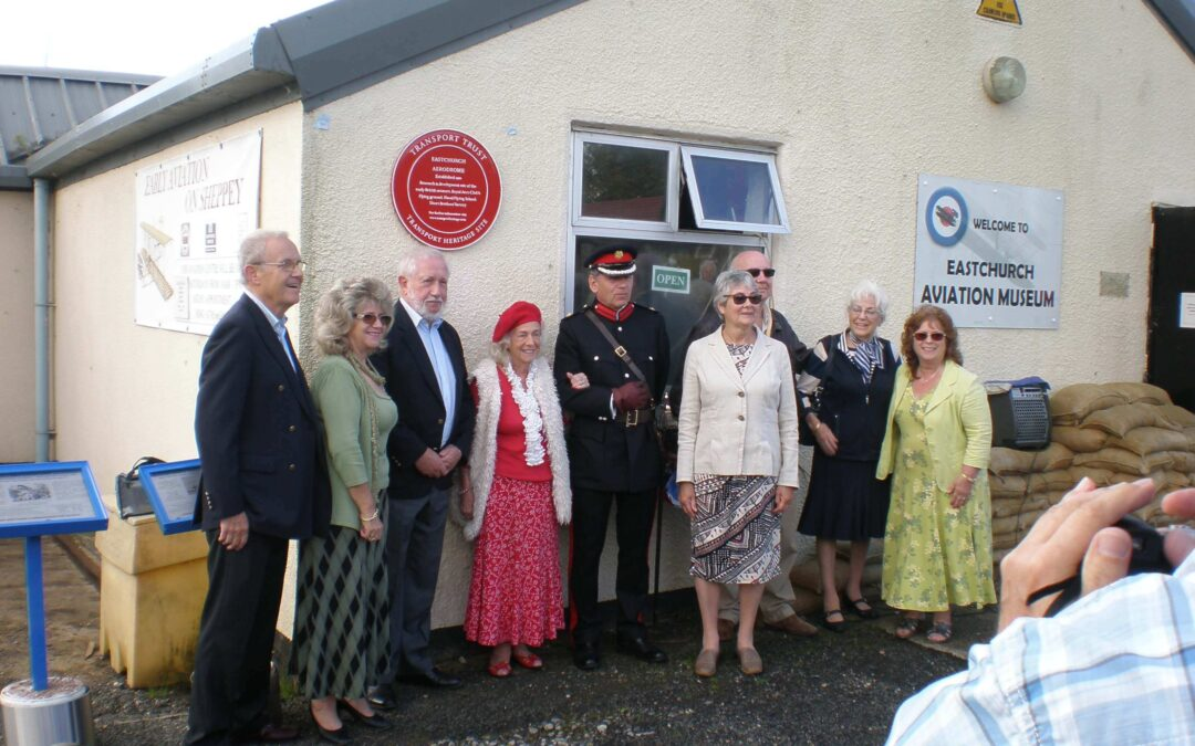 From left to right: Peter Stone of The Transport Trust; Susan Koh, great granddaughter of Horace Short (aviation pioneer and went on to found the Short Brothers flying boat company in Rochester); Stuart Wilkinson, Chairman of The Transport Trust; Kathleen Hindmarsh, granddaughter of Horace Short; Mr Paul Auston DL; Elizabeth Walker, great great niece of Horace Short; Peter West, Eastchurch Aviation Museum Trust; Rita Byrne, granddaughter of Horace Short; Gill Nelson, granddaughter of Horace Short. (c) Robin Heaps