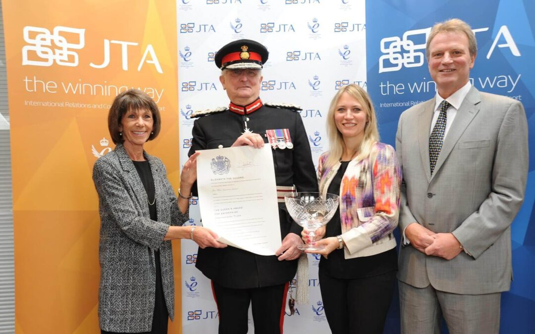 The Directors of JTA receive a Grant of Appointment and commemorative crystal bowl from the Lord Lieutenant – from left to right: Sally Tibbs (Director), Lord Lieutenant of Kent, Viscount De L'Isle MBE, Séverine Hubert (Managing Director) and Jon Tibbs (Chairman). (c) Damian Walker.