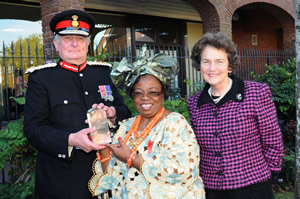 Her Majesty's Lord Lieutenant of Kent and The Viscountess De L'Isle with Tina Murphy, Director of HACO, and the coveted award.