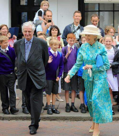 HRH Princess Alexandra being escorted to the Huguenot Museum by The Lord-Lieutenant of Kent, The Viscount De L'Isle MBE. (c) Huguenot Museum.