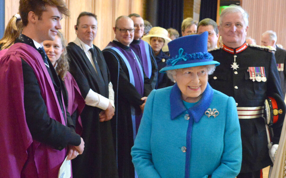 The Queen, escorted by The Lord-Lieutenant, meeting guests at a reception held at The Cathedral Lodge. (c) Roberty Berry.