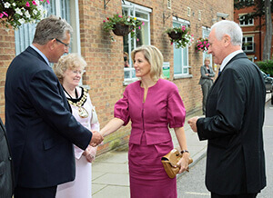 Pictured left to right: Mr David Mobbs, Group Chief Executive of Nuffield Health; Councillor Mrs Elizabeth Thomas, Mayor of Tunbridge Wells; HRH; and Paul Sabin, Deputy Lieutenant of Kent.