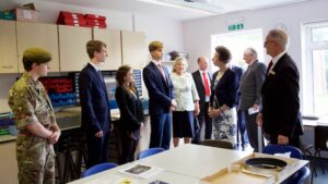The Princess Royal touring the premises with pupils and staff.(c)Ali Kittermaster at Blush Photography