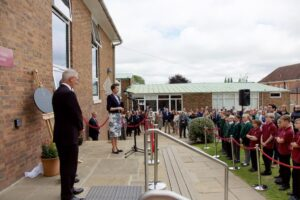HRH delivering her speechto the whole school including pupils from Cranbrook Primary who are due to join the school in September.(c)Ali Kittermaster at Blush Photography