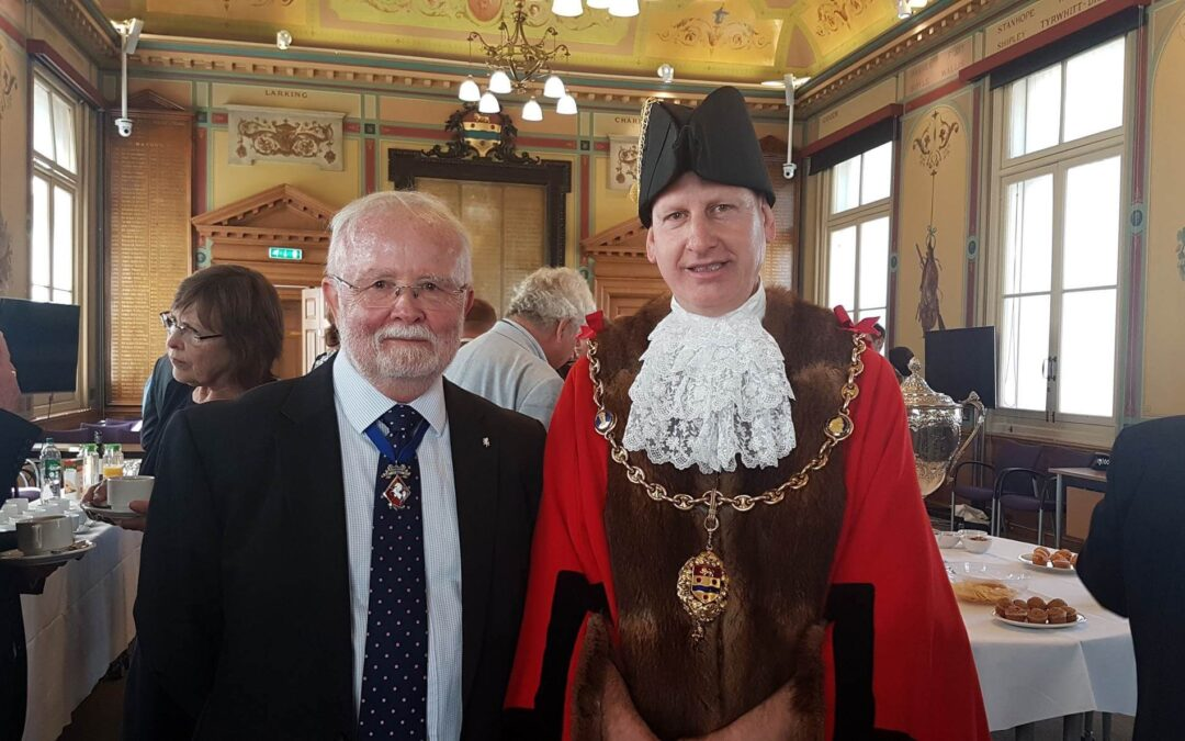 Mr Bill Cockcroft DL pictured with the Mayor of Maidstone, Councillor David Naghi, at the Reception which took place in the Town Hall after the ceremony. (c) Maidstone Borough Council.