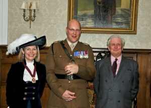 From left to right: Mrs Jane Aston, High Sheriff of Kent; Lt Col Will Robinson, CO 1 Regt RE and Viscount De L'Isle, Lord-Lieutenant of Kent. (c) Chris Lawson