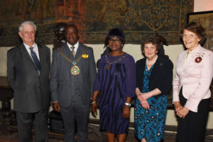 Left to right: Viscount De L'Isle, Lord-Lieutenant of Kent; Cllr Samuel Koffie-Williams, The Worshipful the Mayor of Swale; Mrs Doreen Koffie-Williams, Mayoress of Swale; Viscountess De L'Isle;  Mrs Valerie Hale JP DL. (c) Barry Duffield DL.