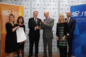 Pictured with the Duke of Kent are the JTA Board of Directors at the company's head office in Kent. (c) JTA.