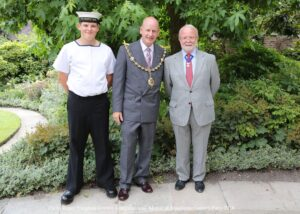 Maidstone sea cadets enjoyed representation at the Mayor of Maidstone's Garden Party and pictured to the right o fMayor Cllr David Naghi is Deputy Lieutenant Mr Bill Fawcus, representing the Lord-Lieutenant at the event.