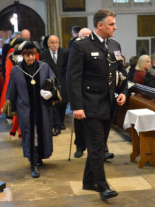 Chief Constable of Kent Police, Alan Pughsley QPM, arriving for the service.