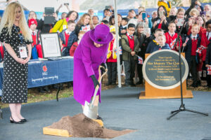 HM The Queen buried a time capsule, which includes a letter from herself among the contents, to be opened in a hundred years time.(c) Rob Berry.
