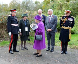 The Lord-Lieutenant and Viscountess De L'Isle sharing a light-hearted moment while bidding farewell to Her Majesty, pictured with from left, Mr Steve Sherry CMG OBE, CEO, RBLI; Mr Stephen Kingsman DL, Chairman, RBLI; and General Sir Gordon Messenger KCB DSO* OBE, Patron of RBLI's Centenary Village Fundraising Campaign. (c) Rob Berry.