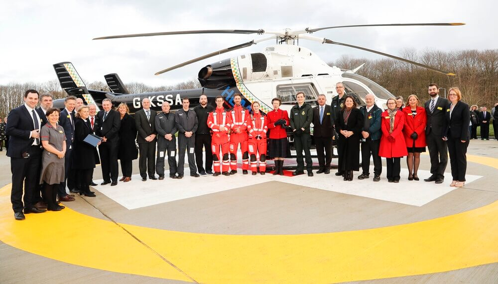 HRH the Princess Royal with crew and staff members at the new Maidstone Hospital helipad. (c) Maidstone and Tunbridge Wells NHS Trust.