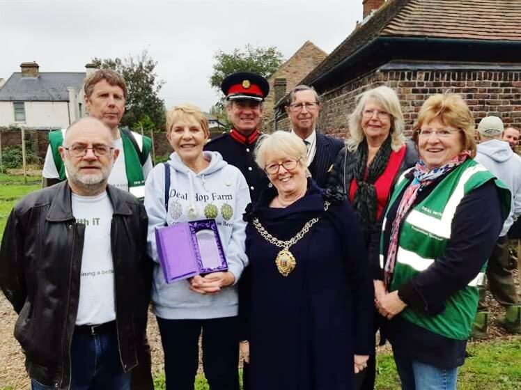 Founding members Charles Franklin, Stephen Wakeford, Vicki Nicholls, Eileen Rowbotham, Rosie Rechter and Jane Stubbington with Vice-Lord-Lieutenant of Kent Richard Oldfield OBE and Col Jo Gunnell DL.