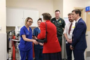 Princess Anne meets the staff working in Medway Maritime Hospital's emergency department.(c) Medway NHS Foundation Trust.